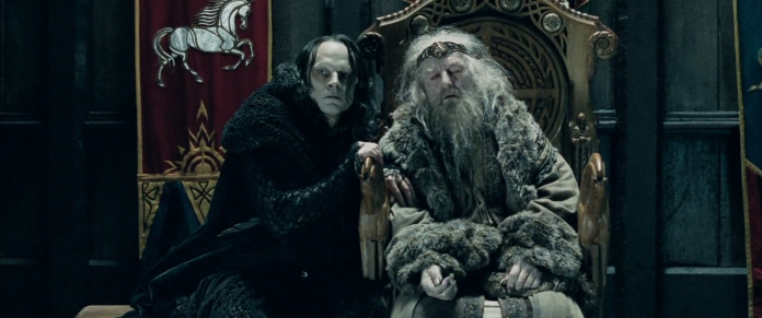 (Grima Wormtongue and Lord Theoden / Still, The Lord of the Rings: The Two Towers, via marbarcondotorg))